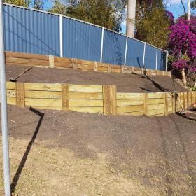 New retaining wall backfill, Garden and turf preparation. Chapel Hill.