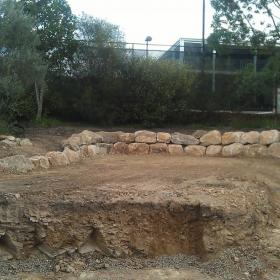 Relocated rockwall in preparation for house extention and swimming pool. Gracemere st, Grange.